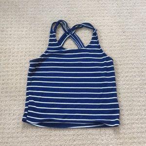 navy blue halter top; crossed in the back